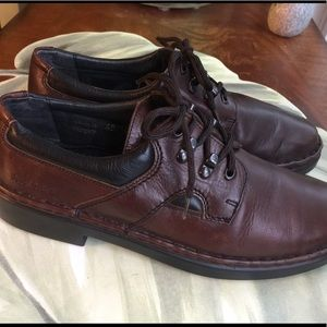 JOSEF SEIBEL BROWN LEATHER TIE UP LOAFERS SIZE 41